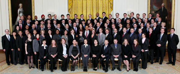 President Barack Obama joins recipients of the Presidential Early Career Awards for Scientists and Engineers (PECASE) for a group photo in the East Room of the White House on January 13, 2010. Dr. Mihalcea is to the President's upper right. (Official White House Photo by Lawrence Jackson)