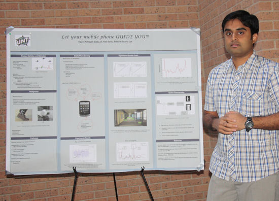 Kalyan Subbu, Ph.D. candidate from the CSE Department, makes a poster presentation for the CENG Advisory Board.